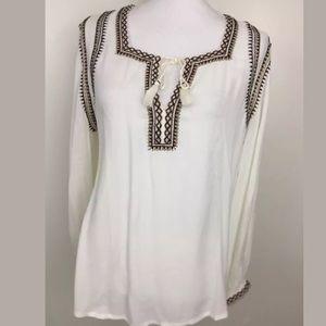 NEW $99 Lucky Brand Boho Embroidered Blouse Medium